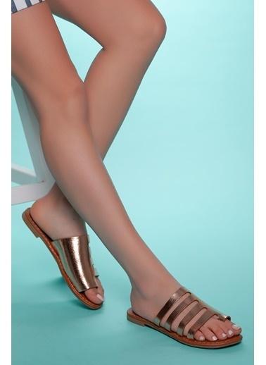 Muggo Hakiki Deri Sandalet Pembe